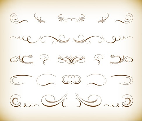 Calligraphic Floral Design Vector Set