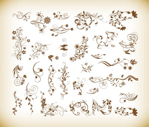 Set of Vector Ornamental Floral Elements for Design