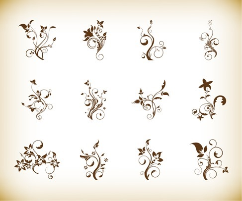 Swril Floral FLower Vector Illustration Set