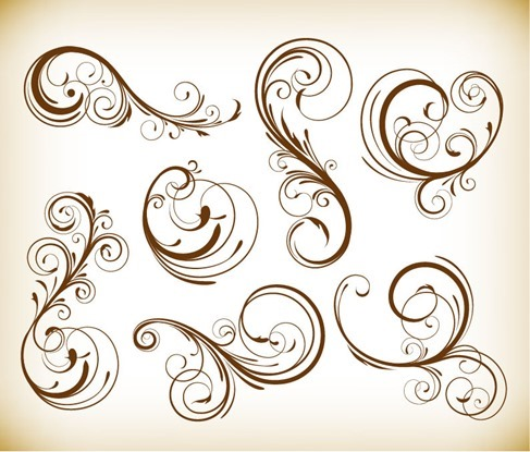 Various Swirl Floral Elements Vector Illustration Set
