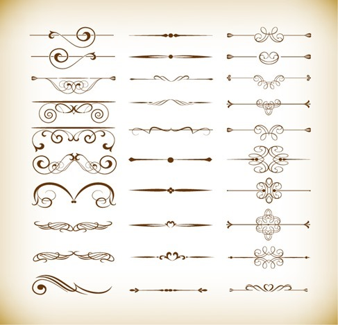 Vector Set of Calligraphic Design Decor Elements