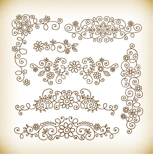 Vector Set of Calligraphic Style Element Design