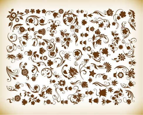 Vector Set of Floral Vintage Vector Design Elements