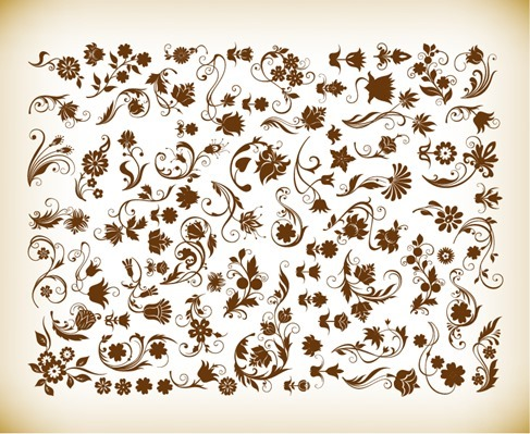 Vector Set of Vintage Floral Element for Your Design