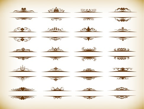 Vector Set of Vintage Ornaments with Floral Elements for Invitation Card