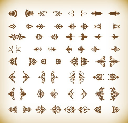Vintage Ornamental Element Design Vector Illustration Set