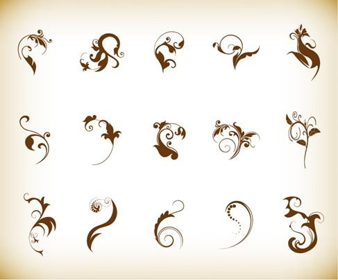 Decoration Floral Elements Vector Graphics Set