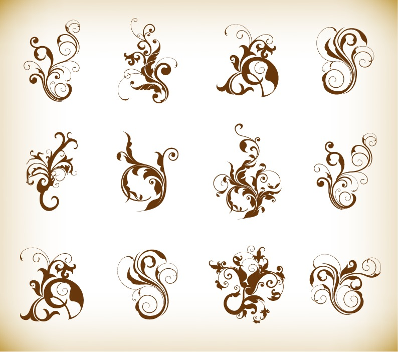 Http Www Webdesignhot Com Free Vector Graphics Decorative Swirl Floral Pattern Elements Vector Graphics Set
