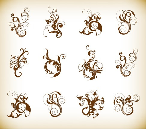 Decorative Swirl Floral Pattern Elements Vector Graphics Set