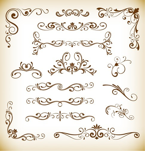 Set of Floral Vector Elements for Design