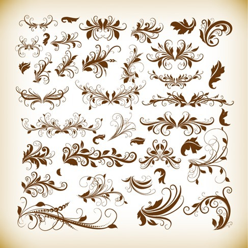 Vintage Decorativ Design Elements Vector Graphics Set