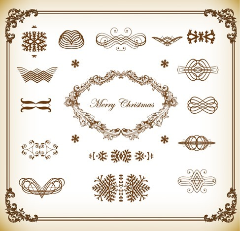 Christmas Decoration Elements Vector Illustration Set