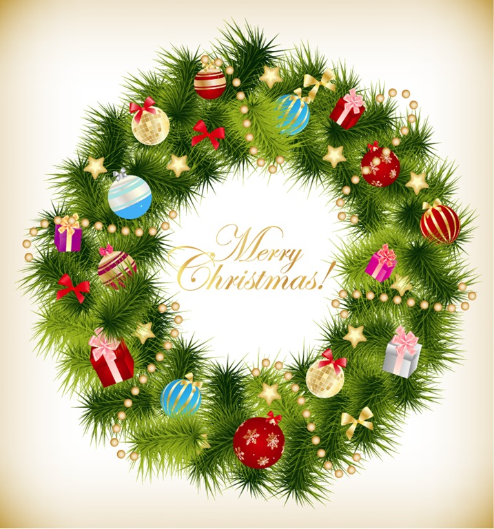Christmas Garland Wreath Vector Illustration  Free Vector Graphics