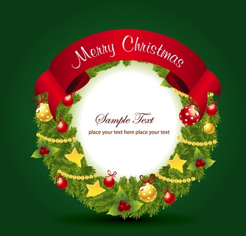 Christmas Wreath Decoration Vector Illustration