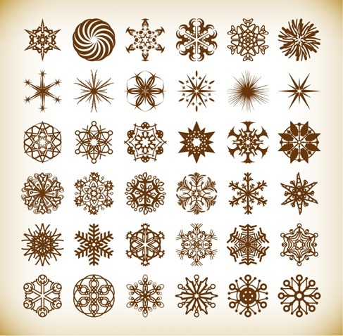 Set of Vector Snowflake Elements