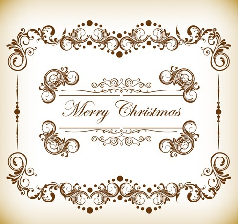 Vintage Christmas Frame Vector Illustration