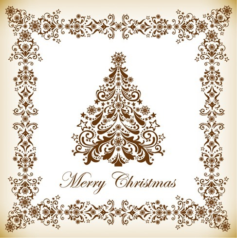 Vintage Christmas Tree Vector Illustration