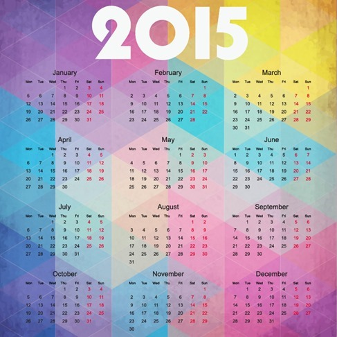 2015 Calendar on Colorful Background Vector Illustration