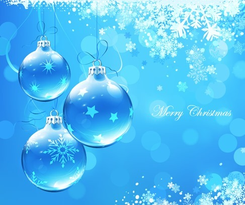 Blue Christmas Card with Christmas Balls Vector Illustration