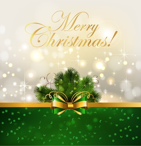 Christmas Background with Bow Vector Illustration