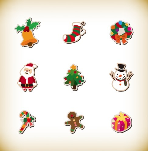 Christmas Icon Set Vector Graphics