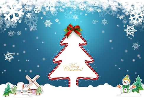Christmas Illustration with Blue Background