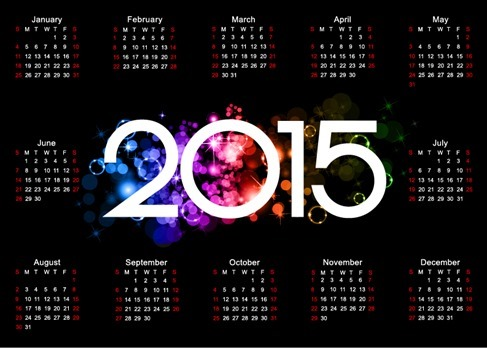 Colorful 2015 Calendar Design on Dark Background
