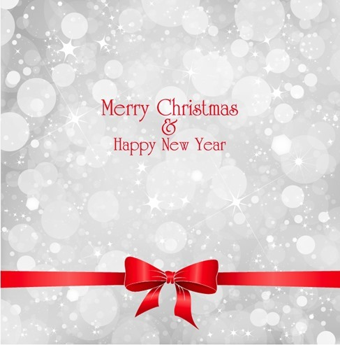 Lights on Grey Background with Red Ribbon Christmas Vector Illustration