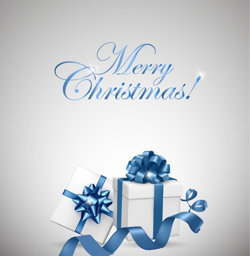 White Gift Box with Blue Bow for Christmas Vector Illustration