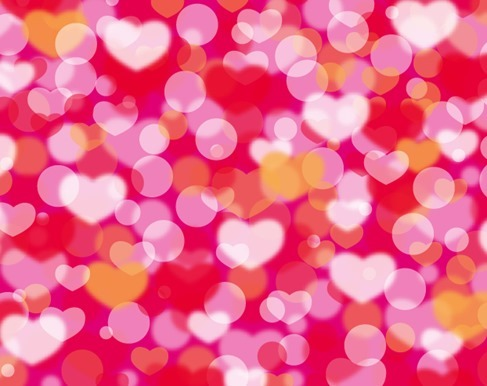 Bokeh Background with Hearts for Valentine Day Vector Illustration
