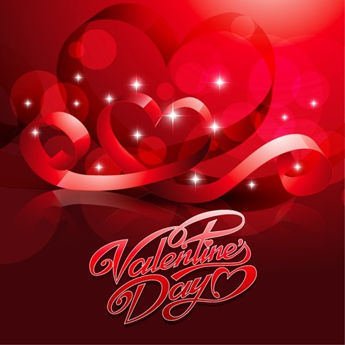 Card for Valentine Day with Heart Vector Illustration