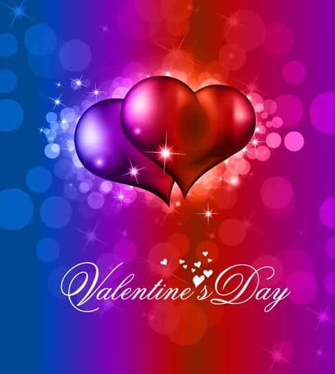 Colorful Valentine Day Background with Heart and Love Vector Illustration