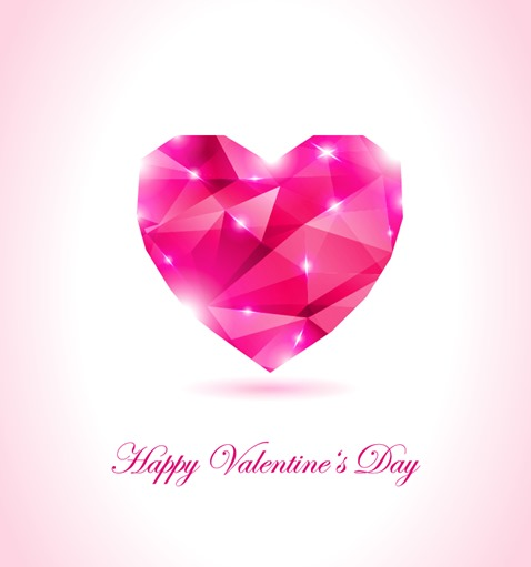 Happy Valentines Day Geometrical Heart Vector Illustration