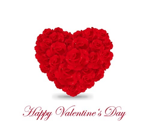Rose Flowers Heart Over White Valentines Day Illustration
