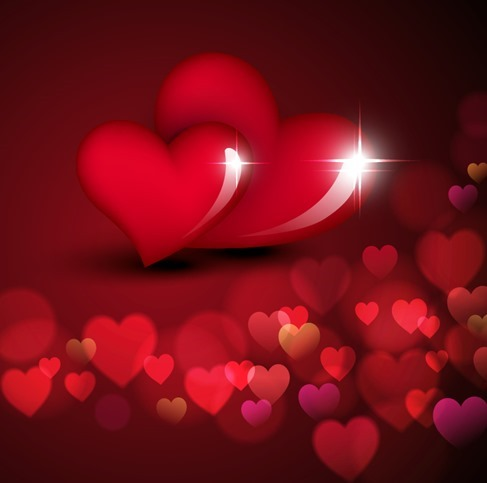Valentine Day Love with Bokeh Hearts Background Vector Illustration