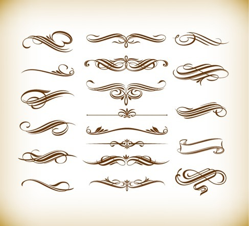 Calligraphic Ornate Design Element Vector Set