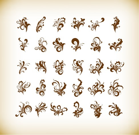 Vector Illustration Set of Floral Elements for Design