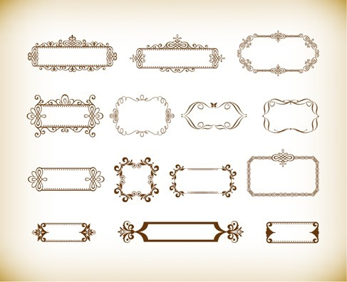 Vintage Ornament Floral Frame Vector Set