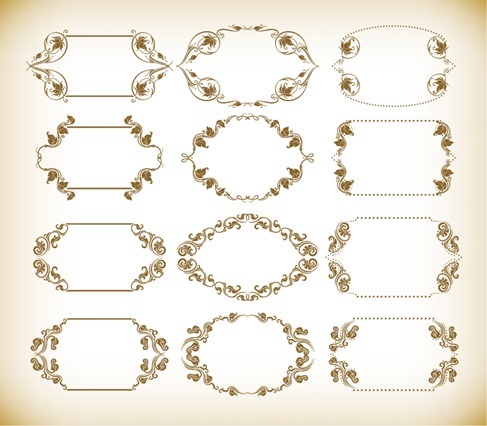 Vintage Retro Frames Vector Set
