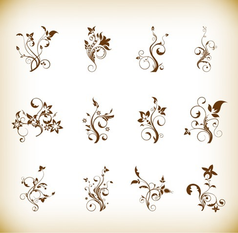 Abstract Floral Element Vector Set