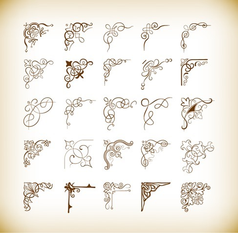 Decorative Corners Vector Illustration Set