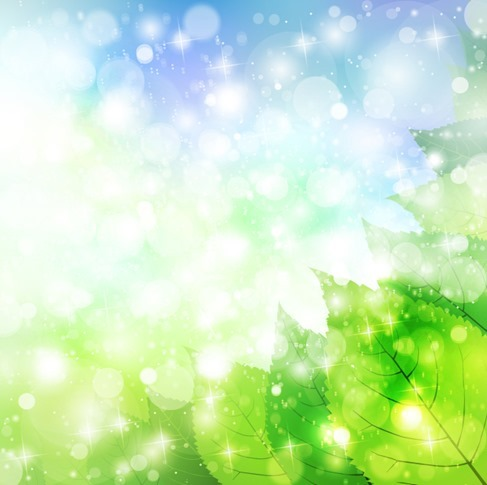 Fresh and Green Natural Leaves on Blue Sky Background Vector Illustration