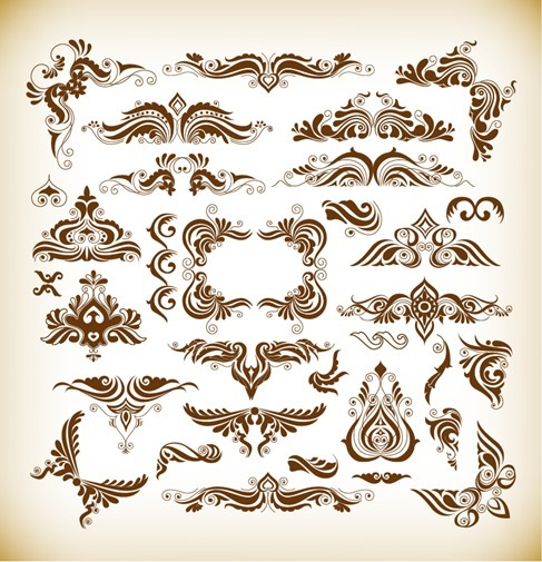 Vector Illustration Set of Elegant Decoration Floral Elements