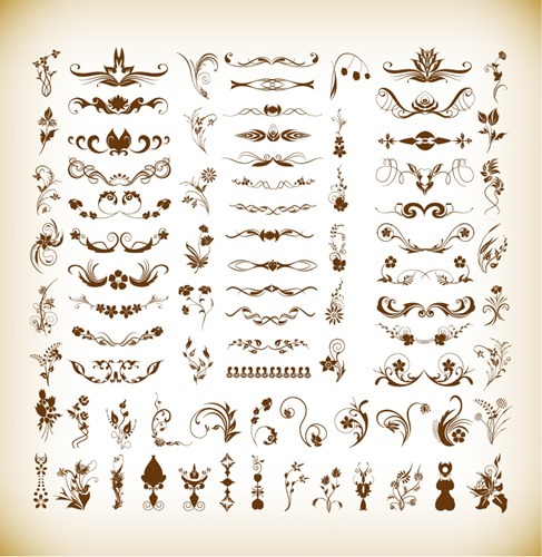 Vector Illustration Set of Floral Decorative Elements for Design