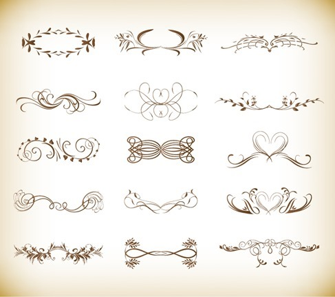 Vector Illustration Set of Ornate Design Elements