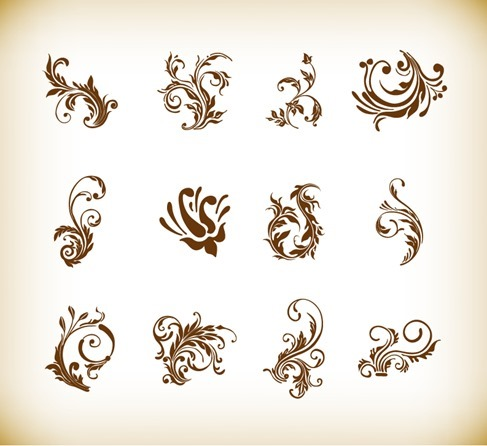 Vector Illustration Set of Swirl Floral Elements for Design