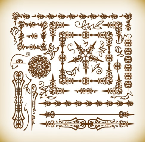 Vector Illustration Set of Vintage Decoration Design Elements