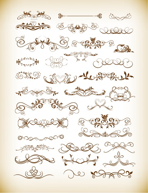 Vector Illustration of Floral Decorative Ornament Elements