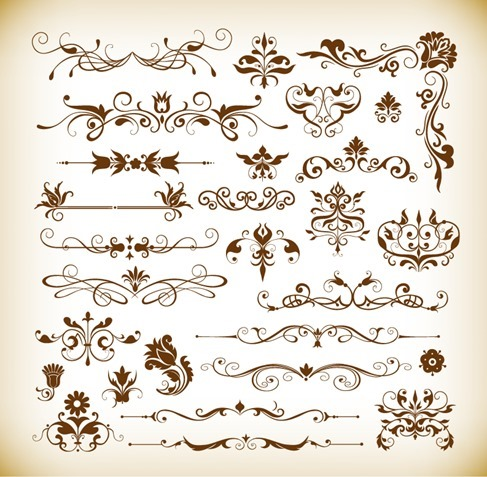 Vector Set of Useful Floral Elements for Design
