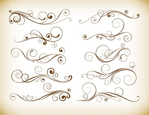 Vector Set of Vintage Flourish Swirl Elements